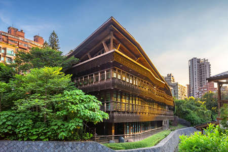 sunset view of library in beitou, taipei, taiwan