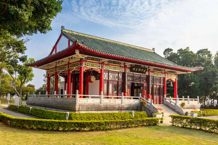 famous temple in Kinmen, Taiwan. The chinese text is