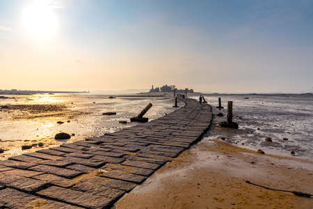 Sunset View Of The Trail To Jiangong Islet in Kinmen, Taiwan