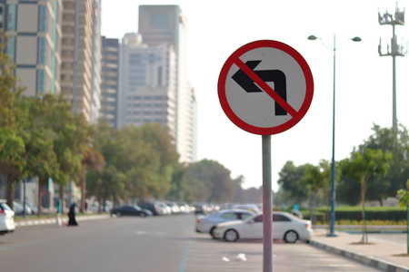 NO LEFT TURN - TRAFFIC SIGN BOARD Éditoriale