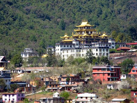foothills: A Buddhist temple in the foothills of the Himalayas in Nepal.
