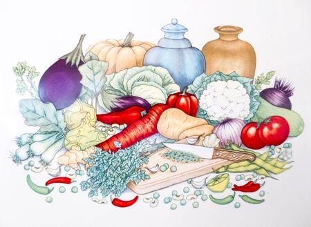 Een set van groenten in de keuken afbeelding. Stockfoto
