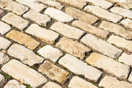 A closeup shot of a cobblestone street.