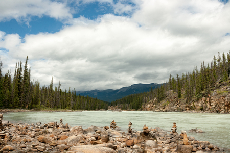 flanked: A glacier river flanked by pine trees.