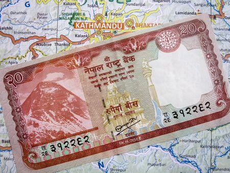 nepali: A Nepali Rupee note on a Nepal Map.