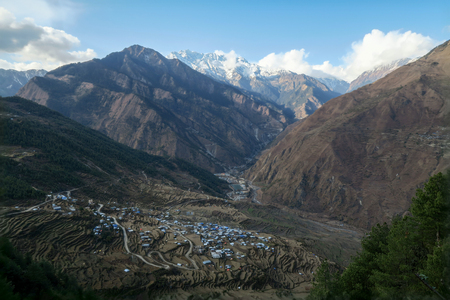A town in the Himalayan foothills surrounded by the terraced fields.