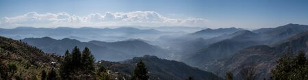 lows: A panorama of the lows hills shrowded in the morning mists.