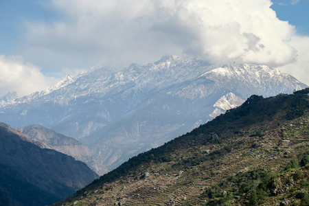 hillsides: A view of the Himalayan mountains and the terraced hillsides. Stock Photo