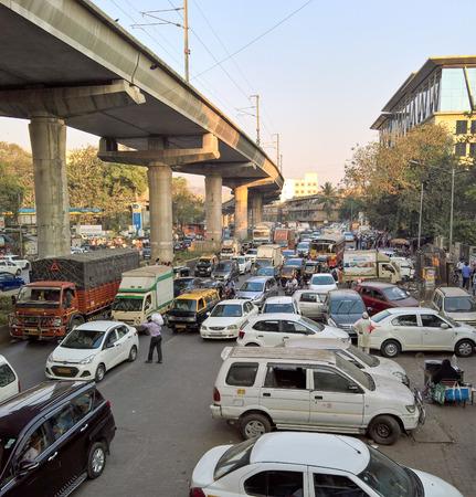 Mumbai, India - February 7, 2017: The traffic jams of Mumbai, India.