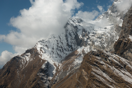 The Rugged Mountain Slopes of the Annapurna Mountain range in the remote regions of Nepal. Stock Photo