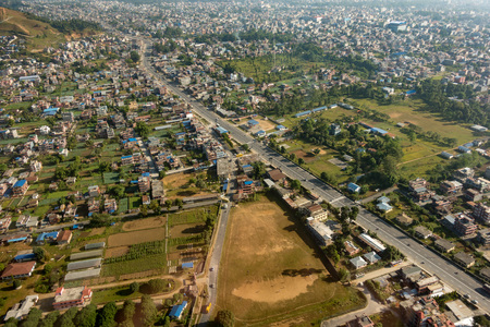 An aerial view of Pokahara city in Nepal in southeast Asia. Stok Fotoğraf