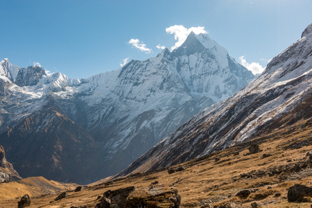 A view of Machapuchare or Fish Tail Mountain Range from Annapurna base camp in the remote regions of Nepal.