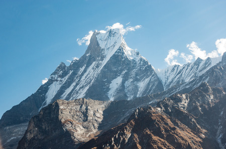 A beautiful view of the Machapuchare or Fish Tail Mountain in the remote regions of Nepal.