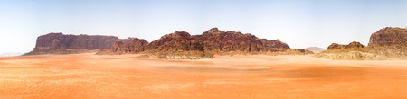 A panorama of the rock formations in the desert.