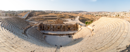 A panorama of the Roman amphitheater in Jerash, Jordan.