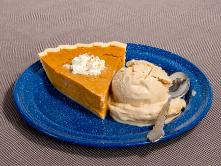 A plate of pumpkin pie and ice-cream.