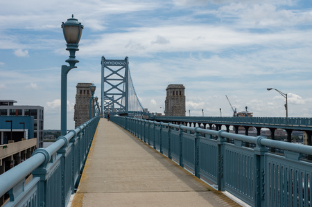 A view of the walkway on the Ben Franklin Bridge.