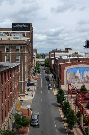 An aerial view of the city streets of Philadelphia.