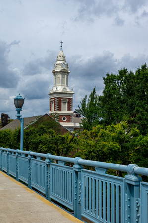 A view from the walkway on the Benjamin Franklin Bridge.