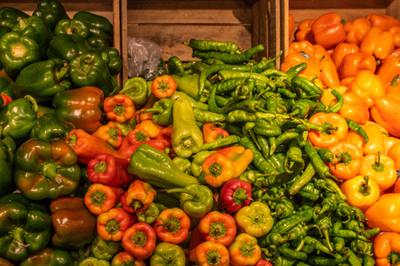 Some peppers at the local farmers market in the city.