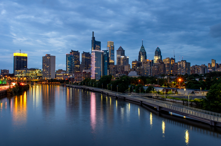 City lights of the Philadelphia skyline at nighttime.