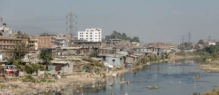 Some slums along the riverside in kathmandu, Nepal.
