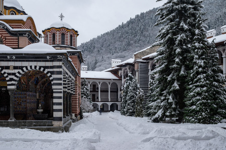 Rila Monastery situated in the Rila Mountains of Bulgaria.