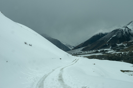 Vehicle tracks on a snow covered road in the Himalaya Mountain Range. Stock Photo