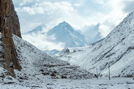 The beautiful of the snow covered mountains in Nepal in Winter.