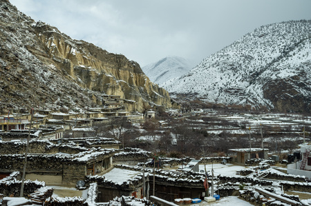 The snow covered village of Marpha in the southern part of the Mustang region of Nepal.