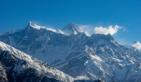 the beautiful Snow Covered Mountains of the Himalaya Mountain Range in Nepal.