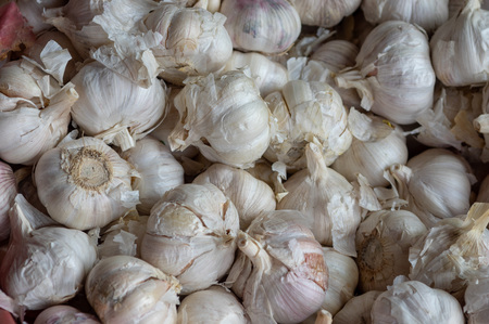 A pile of garlic at the local spice market. Banque d'images - 119831809