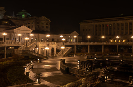 The lights of the Harrisburgh State Capital at Night. Stock Photo
