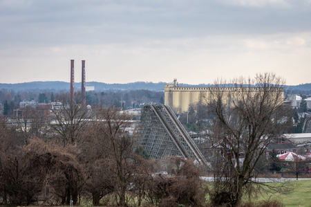 Hershey, PA - December 26, 2018: The Iconic Hershey Chocolate Factory Smokestacks overlooking the city of Hershey, PA on December 26, 2018.