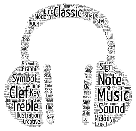 A word cloud showing a pair of head phones. Фото со стока