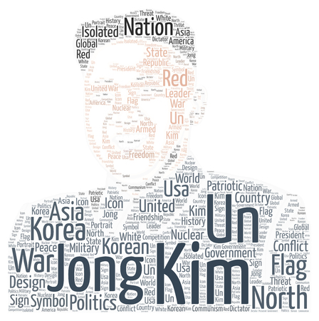A word cloud of Kim Jing Un the president of North Korea