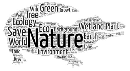 A word cloud showing the need to save the wetlands of the world.