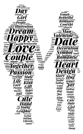 A word cloud of a couple holding hands depicting love.