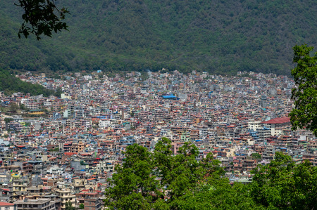 The sprawling city of Kathmandu, Nepal in southeast Asia.