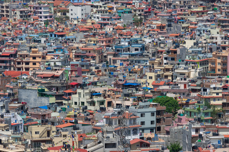 A densely populated section of the city of Kathmandu, Nepal.