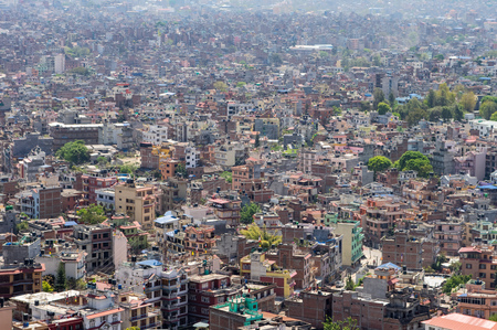 A high angle view of the downtown population density of Kathmandu, Nepal.