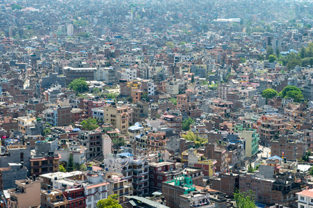 A high angle view of the downtown population density of Kathmandu, Nepal. Stok Fotoğraf