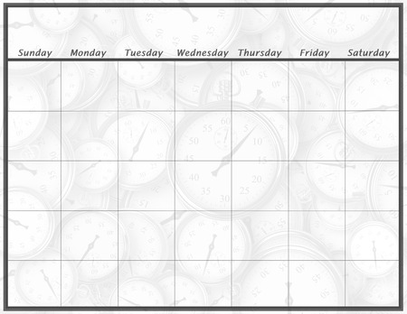 A blank calendar page with only the days and the month listed and with a background of time.