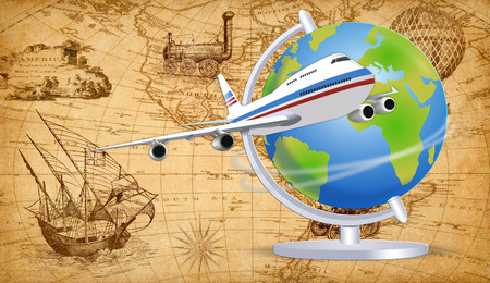 An illustration of The History of Travel concept. 스톡 콘텐츠 - 120356984