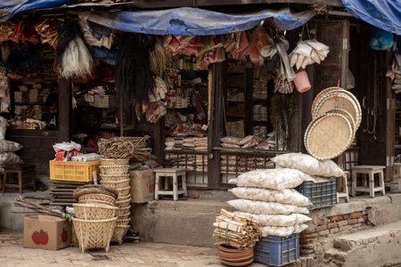 A market stall in Nepal with various articles of merchandise. Stockfoto
