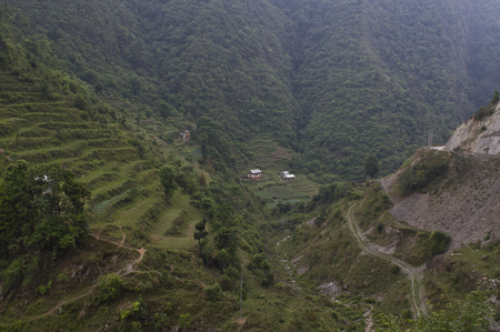 A beautiful valley in the mountains of Nepal.