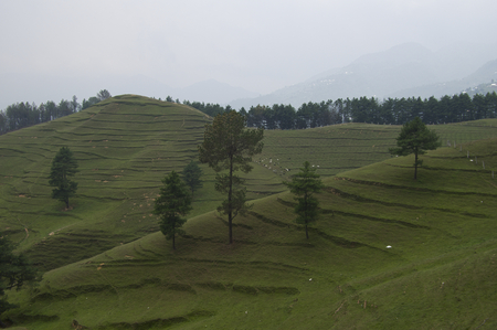 Some beautiful green alpine hills in central Nepal. Stock Photo