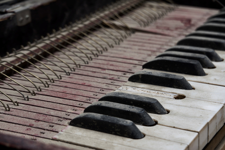 An old rustic lap organ covered in dust and missing a key. Imagens