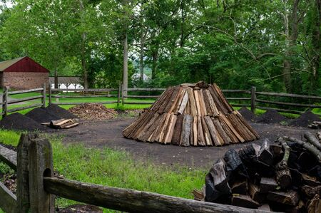 A Wood Pile at Charcoal Pit at the Hopewell Iron Furnace.