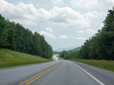 Traveling on a nice highway in Vermont. Stock Photo